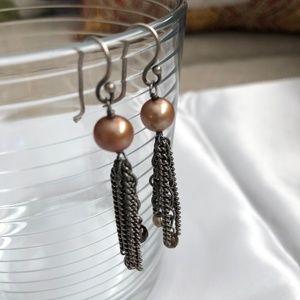 SILPADA .925 Copper Pearl Earrings Chains W1521